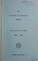 University of Connecticut Graduate Catalog, 1962-1963