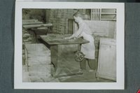 Worker At Saw Frame Or Bench Saw