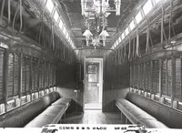 Interior view of New Haven Railroad combination baggage and smoking car 2408