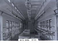 Interior view of New Haven Railroad mail car 3266