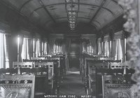 Interior view of New Haven Railroad dining car 2302