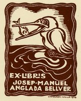 Book plate depicting A sea bird on the water holding a fish in its beak