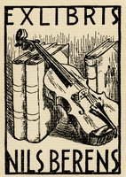 Book plate depicting A violin resting on two upright books.  A third book stands upright behind the violin