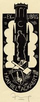 Book plate depicting silhouetted man superimposd on tower; at tower base is hammer and treble clef on shield