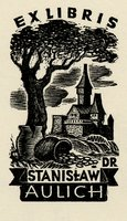 Book plate depicting dark, castle in background, tree and pots of gold in foreground