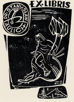 Book plate depicting what appears to be a merman in space, few stars
