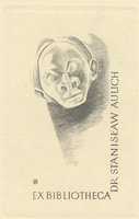 Book plate depicting man's shadowy face