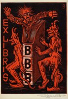 Book plate depicting demonic figures in red and black