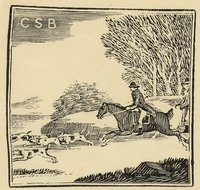 Book plate depicting Fox hunting scene; men on horseback with bloodhounds ahead