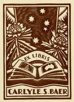 Book plate depicting Open book foreground, with sunflowers on either side.  Stars top center, but with sun visible on either side