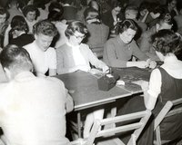 Hartford Electric Light Company employees playing bingo, December 1955