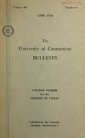 University of Connecticut bulletin, 1954-1955