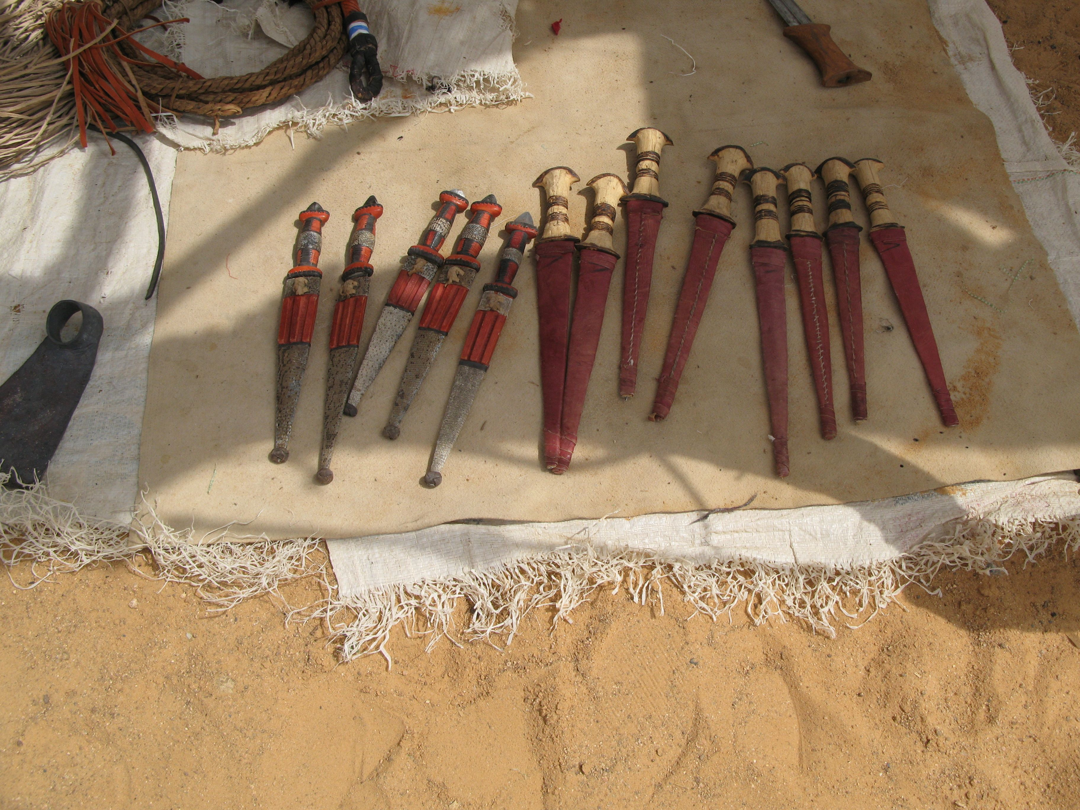 Knives and tools from the Oure Cassoni refugee camp in Chad near the border with Sudan