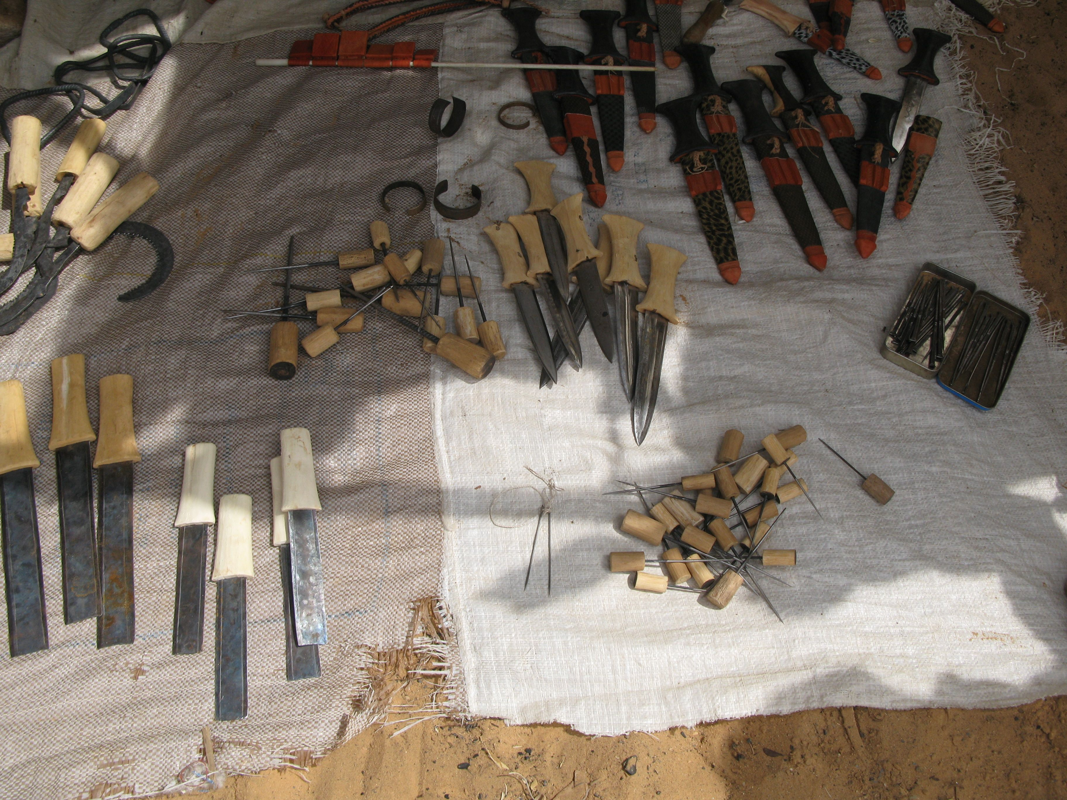 Knives and tools from from the Oure Cassoni refugee camp