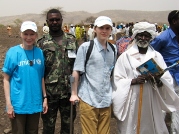 Actor and humanitarian Mia Farrow and her son, Ronan Farrow, in the Jebel Marra mountains