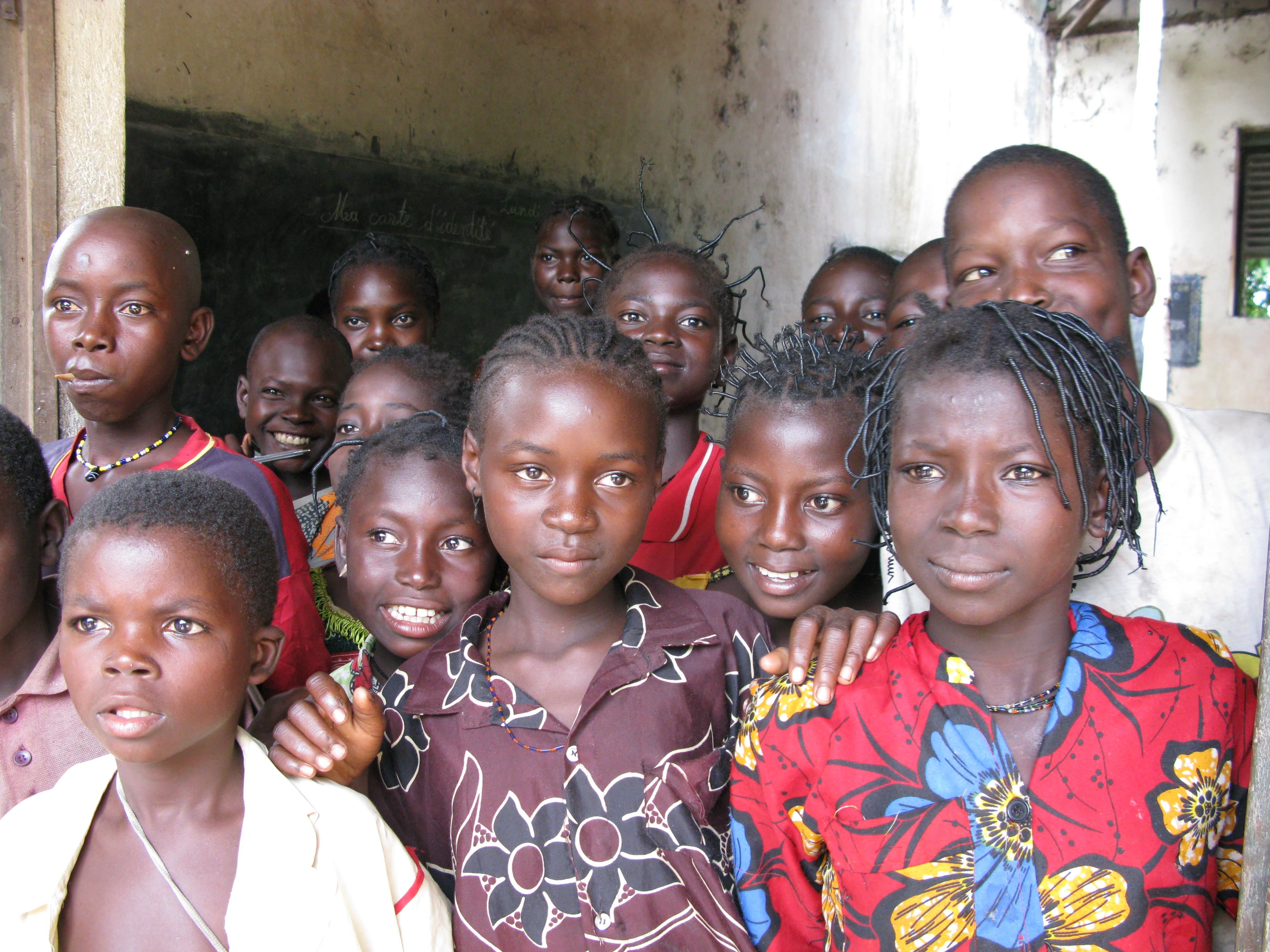 Childen gather outside a school in the Central African Republic