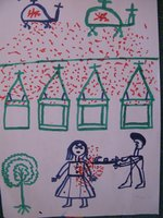 Children's drawing of violence in Darfur, drawn by girls at the Djabal Refugee Camp in Gasbeda, Central African Republic