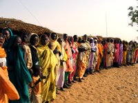 Women gather to request a well from UNICEF in Galap in South Darfur, Sudan