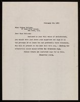 Unsigned Letter to Vivien Kellems (1950-02-09)