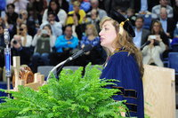 President Susan Herbst speaking at Commencement, School of Business, 2016
