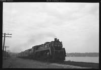 Canadian National Railway steam locomotives and motor car, 1958 September 3
