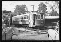 New Haven Railroad diesel locomotive and Branford Electric Railroad Museum trolley cars, 1958 June