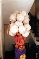 Worker Carries Nepali Carpet Wool On Her Head