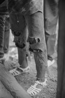 Tattered Jeans of Young Girl on Cocoa Farm
