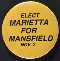 Elect Marietta for Mansfield button