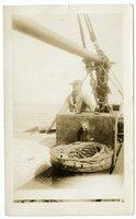 Crew member of the Doris M. Hawes on the schooner