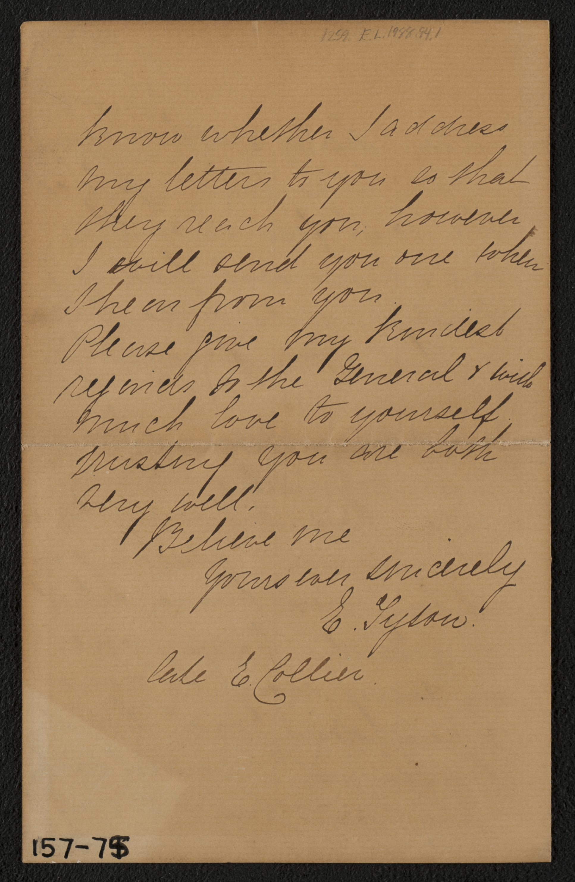 Letter: My dear Mrs. Stratton (M. Lavinia Warren) from E. Collier, August  30, 1878 (page 4) ...